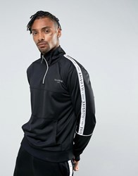 Illusive London Overhead Track Jacket In Black With Taping Black