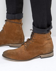 Asos Lace Up Boots In Tan Suede With Natural Sole Tan