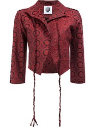 Aganovich Allover Print Cropped Jacket Red