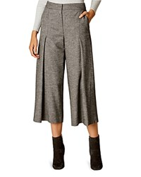 Karen Millen Tweed Wide Leg Crop Pants Gray