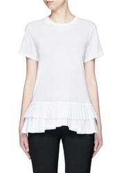 Alexander Mcqueen Pleat Tiered Hem Cotton T Shirt White