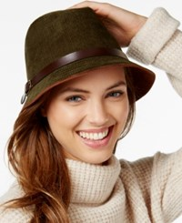 Collection Xiix Faux Suede And Buckle Trim Fedora Olive