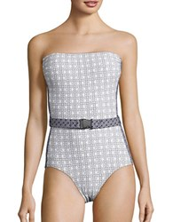 Michael Kors Patterned One Piece Bandeau Swimsuit White