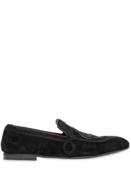 Dolce And Gabbana Lace Trimmed Suede Loafers Black