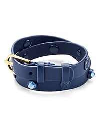 Tory Burch Leather And Crystal Wrap Bracelet Navy
