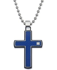 Macy's Men's Blue Carbon Fiber And Diamond Accent Cross Pendant Necklace In Stainless Steel