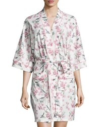 Bedhead Bird Toile Print Short Kimono Robe Blue Ivory Bird