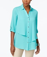 Jm Collection Tiered Roll Tab Blouse Only At Macy's Mermaid Green