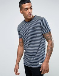 Solid Striped T Shirt With Pocket 1991 Navy