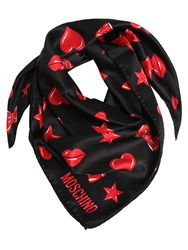 Moschino Printed Silk Satin Scarf