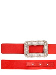 Roger Vivier 25Mm Swarovski Buckle Satin Belt
