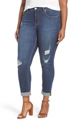 Melissa Mccarthy Seven7 Plus Size Women's Destructed Roll Cuff Stretch Skinny Jeans