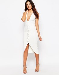 Hedonia Megan Pencil Dress With Ruffle Front Ivory