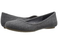 Dr. Scholl's Friendly Grey Herringbone Flannel Women's Flat Shoes Gray