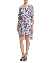 Thakoon 3 4 Sleeve High Low Printed Cotton Dress Size 8 Blue