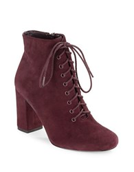 424 Fifth Gianetta Suede Lace Up Ankle Boots Burgundy