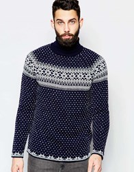 Asos Christmas Roll Neck Jumper With Snowflake Design Navy