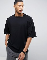 Asos Super Oversized T Shirt In Heavyweight Jersey With Square Neck Black