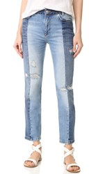 Free People Patchwork Skinny Jeans Blue