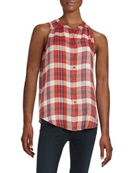 Lucky Brand Chevron Tunic Top Red