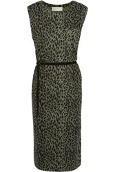 Zimmermann Printed Linen And Cotton Blend Midi Dress Leopard Print