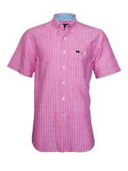 Raging Bull Stripe Short Sleeve Button Down Shirt Pink