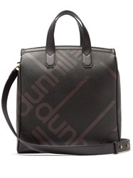 Dunhill Logo Print Faux Leather Tote Black