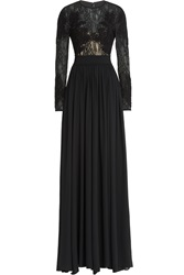 Elie Saab Embroidered Floor Length Gown With Lace And Silk Black