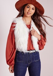 Missguided Mongolian Short Faux Fur Gilet White White
