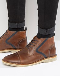 Asos Boots In Brown Leather Brown