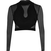 River Island Womens Black Mesh Turtle Neck Crop Top