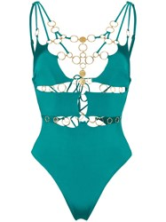 Agent Provocateur Davine Gold Ring Lace Up Swimsuit Green