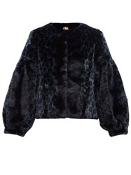 Shrimps Fergal Leopard Print Faux Fur Jacket Navy
