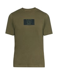 Oamc Victory Print Cotton T Shirt Khaki Multi