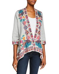 Johnny Was Quinn Open Front French Terry Cardigan Heather Grey