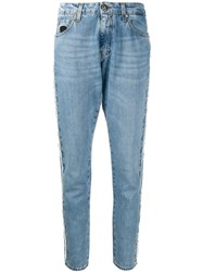 John Richmond Embellished Tapered Leg Jeans Blue