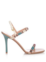 Valentino Primitive Bead Embellished Sandals White Multi