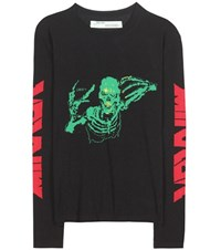 Off White Cotton Blend Sweater Black