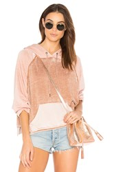 Free People Tri Color Hoodie Pink