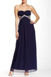 Trixxi Strapless Bodice Cutout Gown Blue