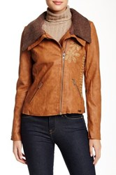 Desigual Embroidered Overcoat Brown