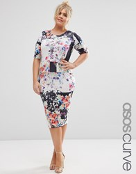 Asos Curve Floral Square Print Midi Bodycon Dress Multi
