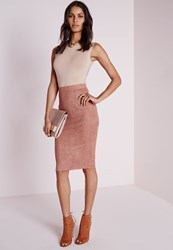 Missguided Faux Suede Midi Skirt Pink Mauve