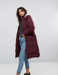 Parka London Long Padded Coat With Faux Shearling Hood Red