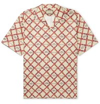 Gucci Oversized Camp Collar Printed Paper Effect Crinkled Shell Shirt Neutrals
