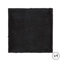 Amara Cowhide Coasters Set Of 4 Black