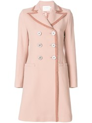 Goat Contrast Trim Cavendish Trench Coat Pink And Purple