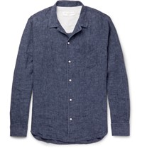 Officine Generale Piped Linen Chambray Shirt Navy