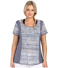 Marika Curves Plus Size Jessica Slimming Tie Dye Short Sleeve Folkstone Gray Women's Workout