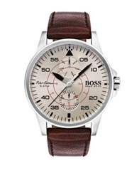 Hugo Boss Aviator Stainless Steel Multifunctional Leather Strap Watch Brown
